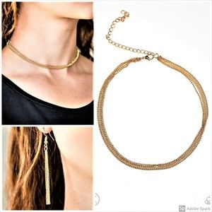 If You Dare - Gold Choker Necklace Earring Set